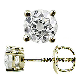 Diamant / Brillant Ohrstecker 0.25ct 18 Karat Gelbgold - Basket Style