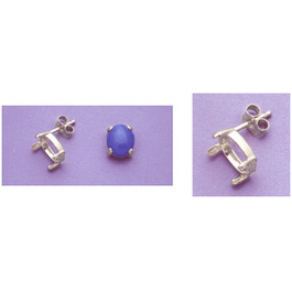 Fassung Ohrstecker Oval 6x4mm Cabochon Silber
