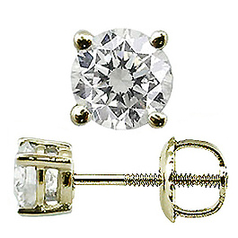 Diamant / Brillant Ohrstecker 0.33ct 18 Karat Gelbgold Basket Style