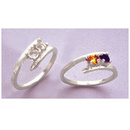 Fassung Mothers Ring 2 x 3mm Rund D=17mm Silber 925