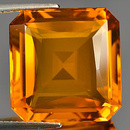 Oktagon Quarz Gelb-Orange 16.2x15.8x8.6mm 15.77ct