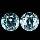 Runder Topas Sky Blue 7.0mm 3.12ct 1Paar